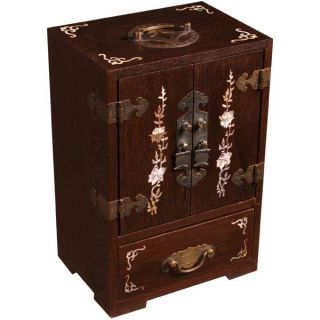 Asian Mother of Pearl Inlay Wood Jewelry Box