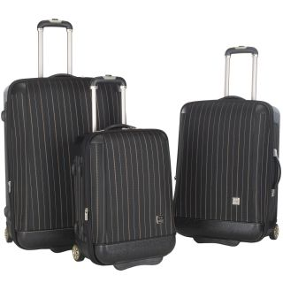 Lotus Oneonta 3 piece Black Stripe Luggage Set Today $286.99