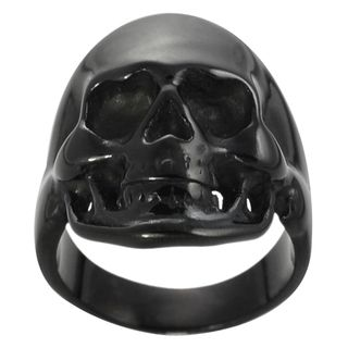 Daxx Black Stainless Steel Mens Skull Ring