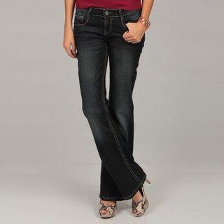 Deja Bleu Womens Dark Flare Stitch Detail Jeans