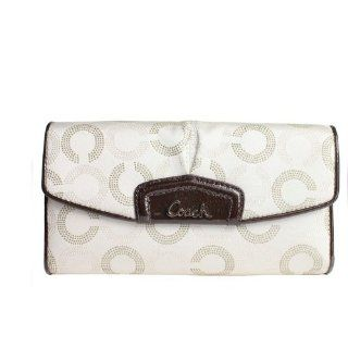 Coach Ashley Dotted OP Checkbook Wallet Ivory Mahogany Shoes