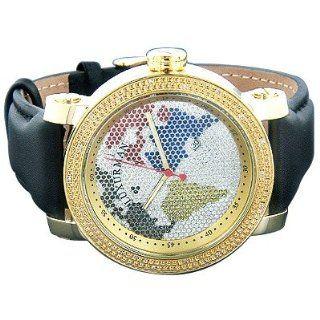 Luxurman Watches World Map Mens VS Diamond Watch .18ct Watches