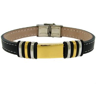Tri color Stainless Steel and Black Leather Mens Bracelet