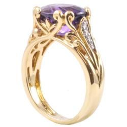 Michael Valitutti 14k Gold Uruguay Amethyst and Diamond Ring