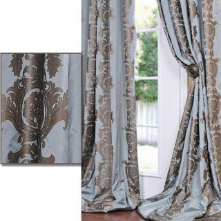 With Cocoa Brown Print Faux Silk 96 inch Curtain Panel