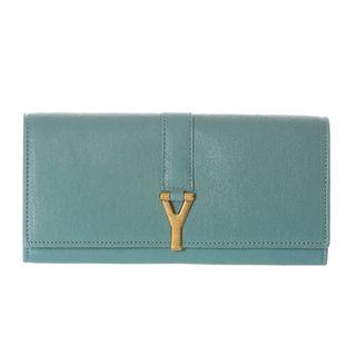 Yves Saint Laurent ChYc Large Light Blue Leather Wallet