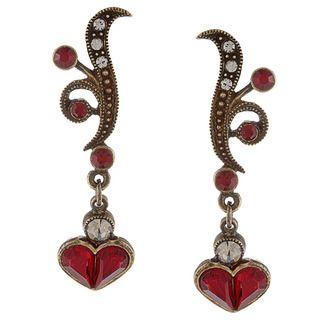 Sweet Romance Vintage Garnet Red Crystal Victorian Earrings