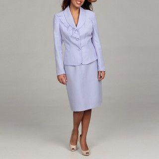 Rose Womens Shawl Collar Eyelet Ruffle Detail Skirt Suit