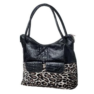Terrida Croco Embossed Leather Leopard Printed Carry on Tote Bag