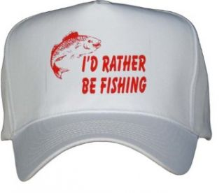 ID RATHER BE FISHING White Hat / Baseball Cap Clothing