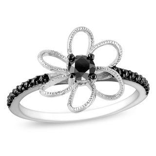 Miadora Sterling Silver 1/4ct TDW Black Diamond Flower Ring