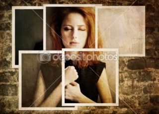Portrait of sad girl in 80s style.  Stock Photo © massonforstock