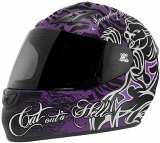 Speed & Strength SS1000 Full Face Motorcycle Helmet Black/Purple Cat