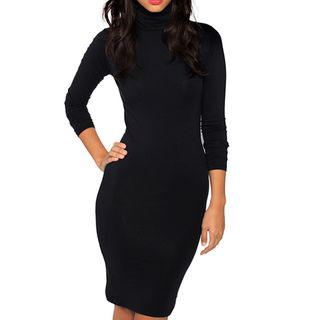 American Apparel Womens Black Cotton Spandex Jersey Turtleneck Dress