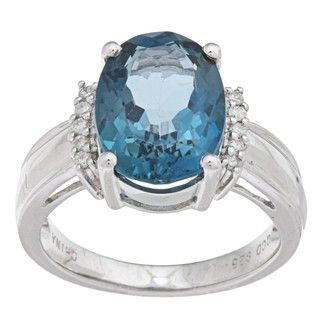 Oro Leoni Sterling Silver Blue Topaz and 1/10ct TDW Diamond Ring (J K