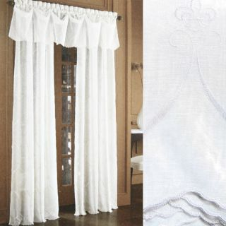 Croscill Cavalier Sheer White 95 inch Window Panels