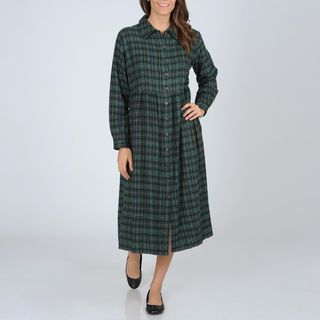 La Cera Womens Green Plaid Flannel Button front Dress