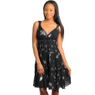 Stanzino Womens Black Floral Printed Sundress