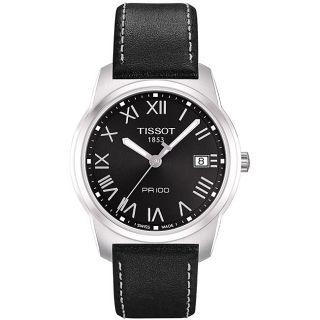 Tissot Mens PR100 Black Roman Numeral Watch
