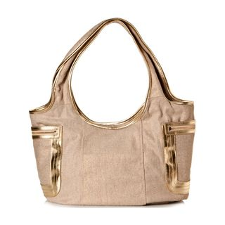 Vintage Reign Womens The O Tote Beige and Gold Hobo Handbag