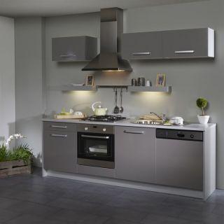BOX Cuisine L 245 cm Grise façade lave vaisselle   Achat / Vente