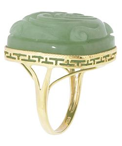 14k Yellow Gold Carved Phoenix Green Jade Ring