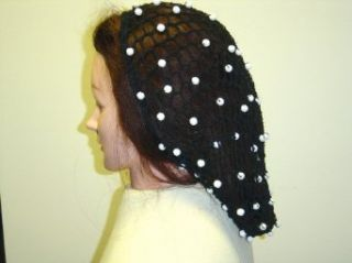 S153bw, Hand Crocheted Black Large Hair Snood with White