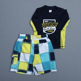 Osh Kosh Toddler Boys Colorblocked 2 piece Rash Guard Swimsuit