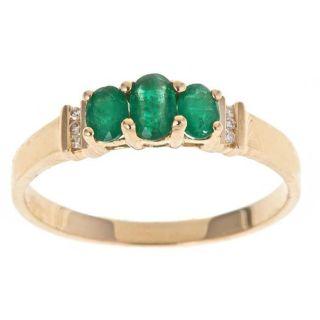 Yach 14k Yellow Gold Emerald and Diamond Accent Fashion Ring (Size 7