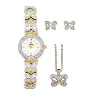 Bulova Womens Crystal Two tone Steel Watch and Jewelry Set