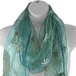 Hand spun Silk Embroidered Sunflower Vines Blue Scarf (India