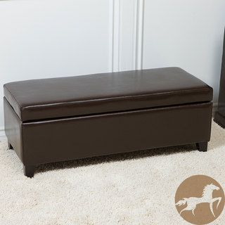 York Brown Bonded Leather Storage Ottoman