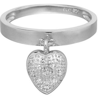 14k White Gold Diamond Accent Heart Charm Ring (Size 7)