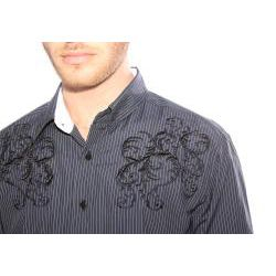 191 Unlimited Mens Black Embroidered Stripe Shirt