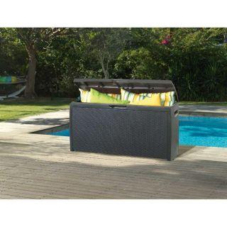 Coffre de jardin en résine aspect rotin 265 litres   Achat / Vente