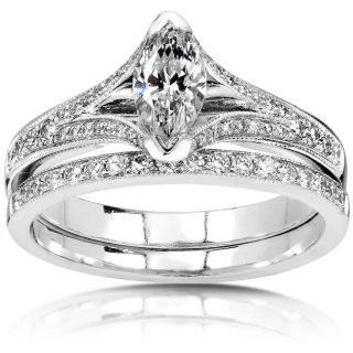 14k Gold 7/8ct TDW Marquise cut Diamond Bridal Ring Set (H I, SI