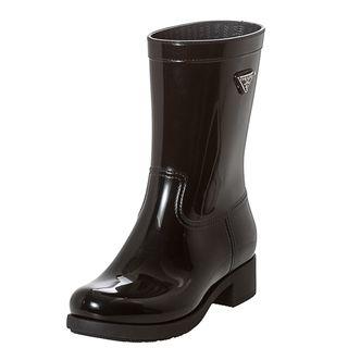 Prada Black Logo Mid calf Rain Boots