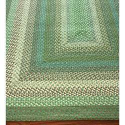 Handmade Alexa Cotton Fabric Braided Green Villa Rug (5 x 8