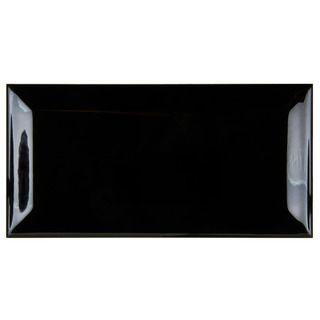 SomerTile 3x5.875 inch Travessa Biselada Negro Ceramic Wall Tiles