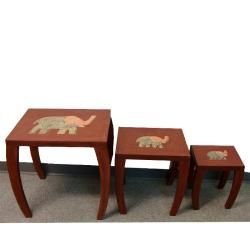 Set of 3 Wooden Elephant Style Nested Tables (Ghana)
