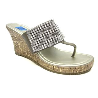 Blue Women`s Joey Pewter Rhinestone Embellished Wedge Sandals