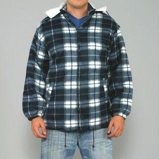 Maxxsel Mens Navy/ White Plaid Fleece Jacket with Detachable Hood