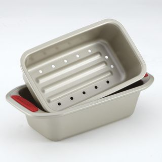 KitchenAid Gourmet Bakeware 2 Piece Meatloaf Pan Set with Red Silicone