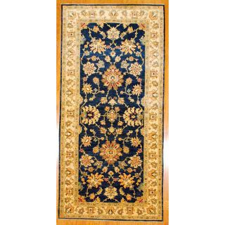 Afghani Hand knotted Blue/ Ivory Vegetable Dye Wool Rug (411 x 102