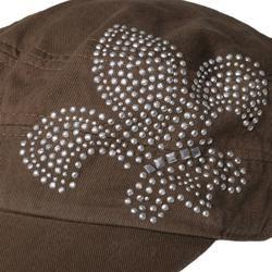 Journee Collection Womens Fleur de lis Studded Accent Military Cap