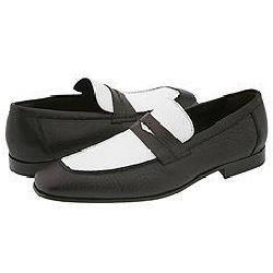 Donald J Pliner Mens Moet Black/ White Penny Loafers