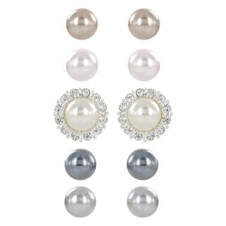 Roman Faux Pearl Interchangeable Crystal Setting 5 pair Earring Set