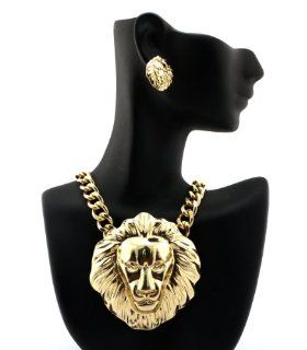 New Gold Lion Head Pendant w/10mm 16 Link Chain Necklace