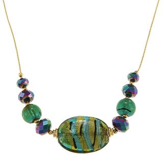 Alexa Starr Goldtone Green Painted and Faceted Glass Slider Necklace