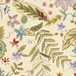 Hand hooked Chelsea Gardens Ivory/ Multi Wool Rug (39 x 59